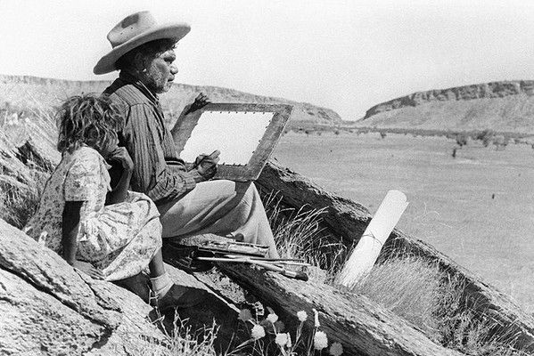 A man who probably did more than anyone to show the world the beauty of Australia's outback - Albert Namatjira. 1954.