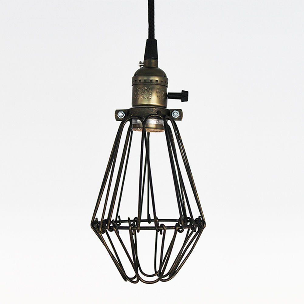 Retro industrial antique metal cage pendant light retractable wire