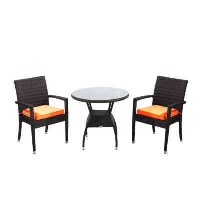 3 piece outdoor dining set wicker dining rattan outdoor furniture brighton piece dining set with cushions cushion color orange finish