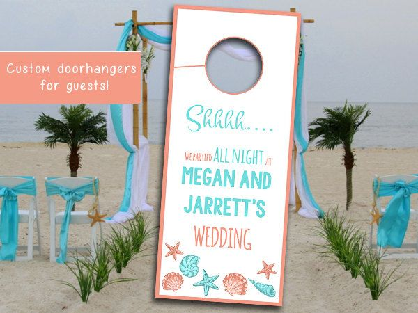 Beach Wedding Door Hanger Template  Seashell Welcome Bag Door