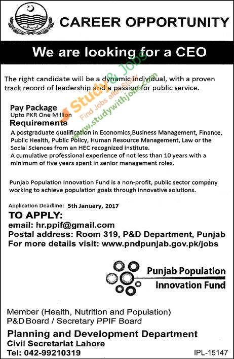 Apply Online Jobs In Planning And Development Department  Jobs In