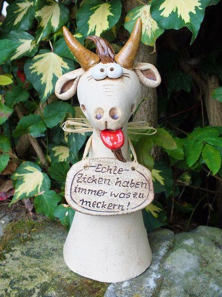 Gartendekoration ziege m hrie zaunhocker rosenkugel gartenkeramik ein designerst ck von for Terracotta gartendekoration