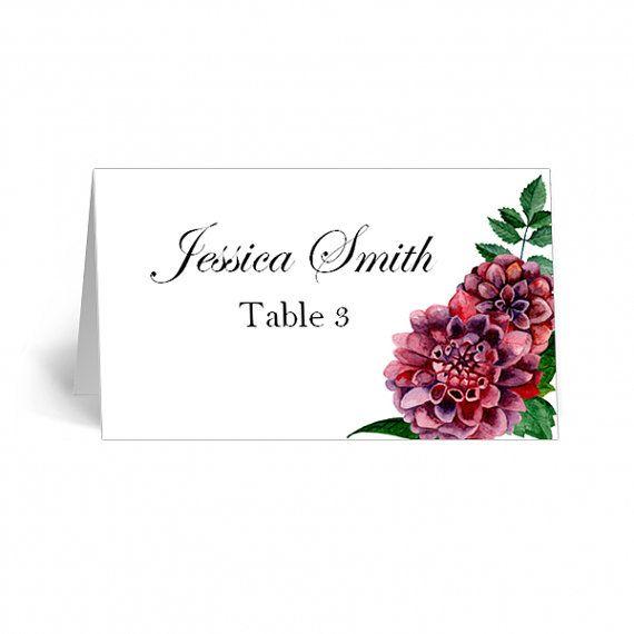 Flower place cards burgundy Dahlia table cards Name cards ...