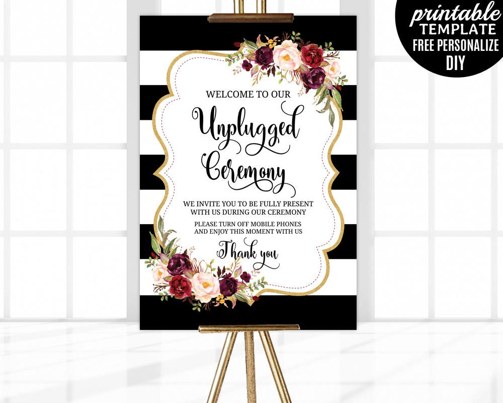 Marsala Unplugged Ceremony Poster Template Printable Fl Wedding Welcome Blush