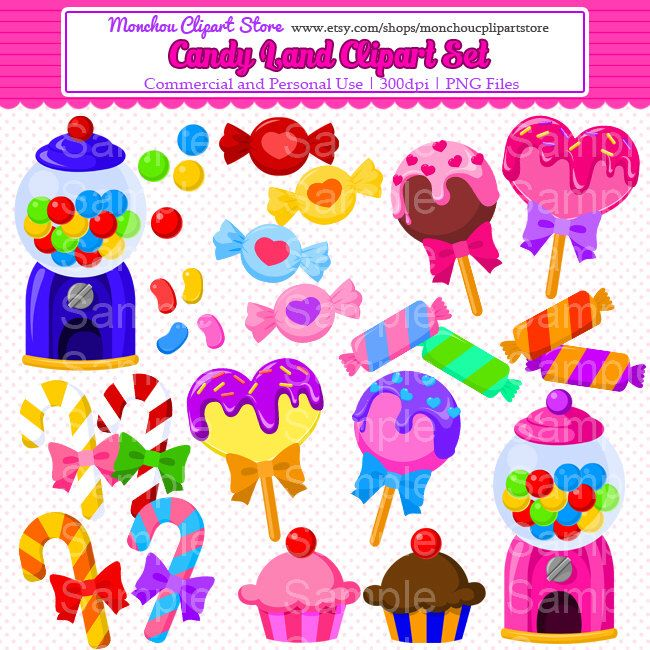 candy land clipart set sweet treats and candy clipart set for rh pinterest com candyland game clipart candyland clipart png