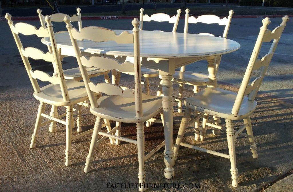 Antiqued White Maple Dining Set. From Facelift Furnitureu0027s DIY Blog.