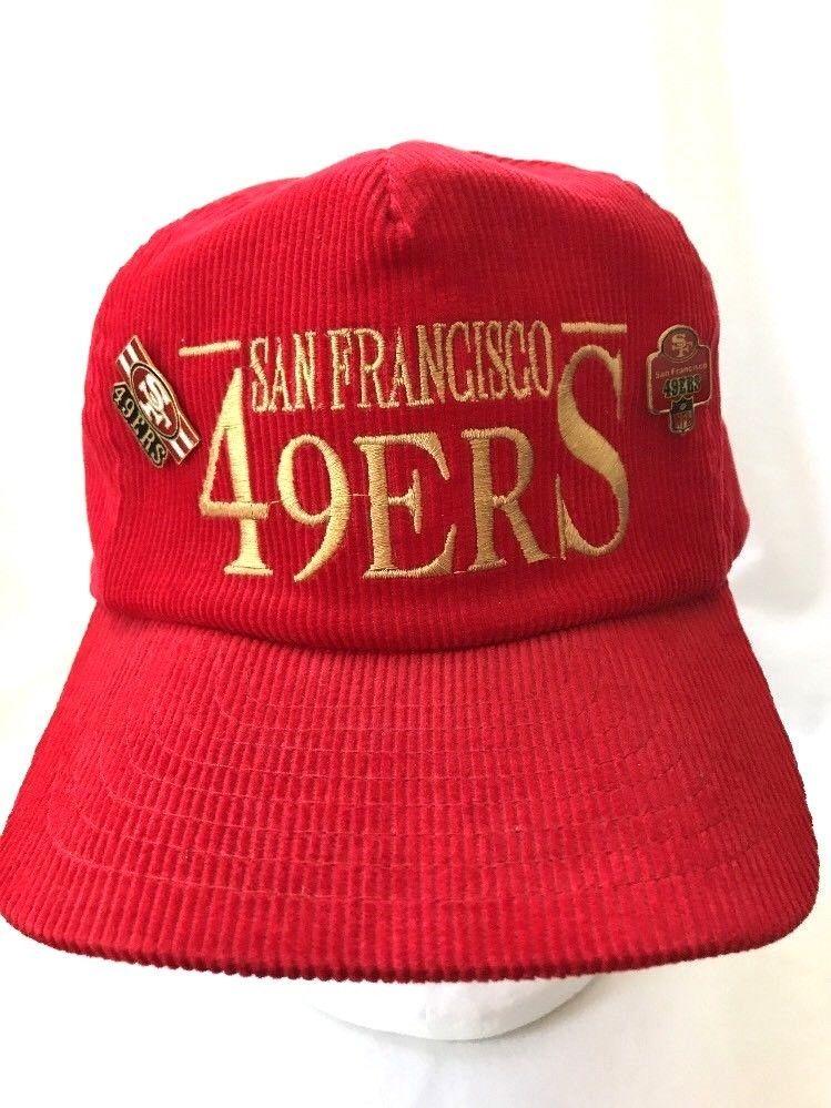 1d383c2c7a8 Vintage SF 49ers Corduroy Strapback Hat 2 Pins NFL Red Gold Annco  Annco   BaseballCap