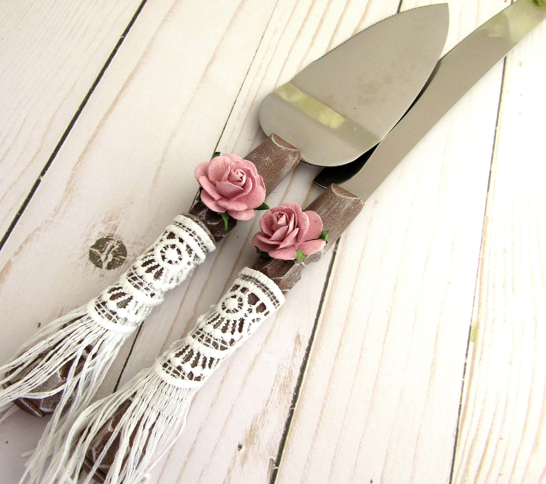 Bohemian wedding cake server knife set woodlook with