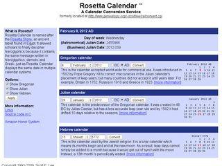 The Rosetta Calendar is a calendar converter  It displays