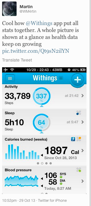 "Martin tweeted "" Cool how Withings"
