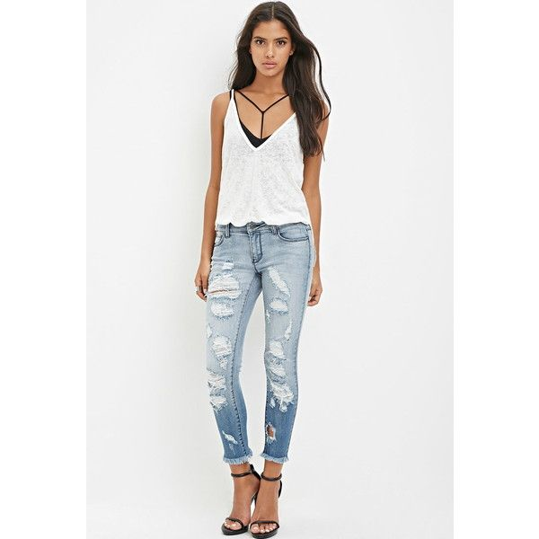 Forever 21 Destroyed Skinny Ankle Jeans ($35) ❤ liked on Polyvore featuring  jeans, - Forever 21 Destroyed Skinny Ankle Jeans ($35) ❤ Liked On Polyvore