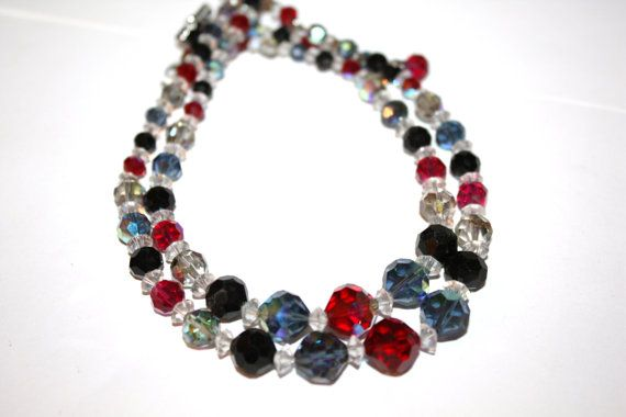 Vintage Crystal Necklace 2 Strand Black Red Blue Glass by patwatty, $20.00