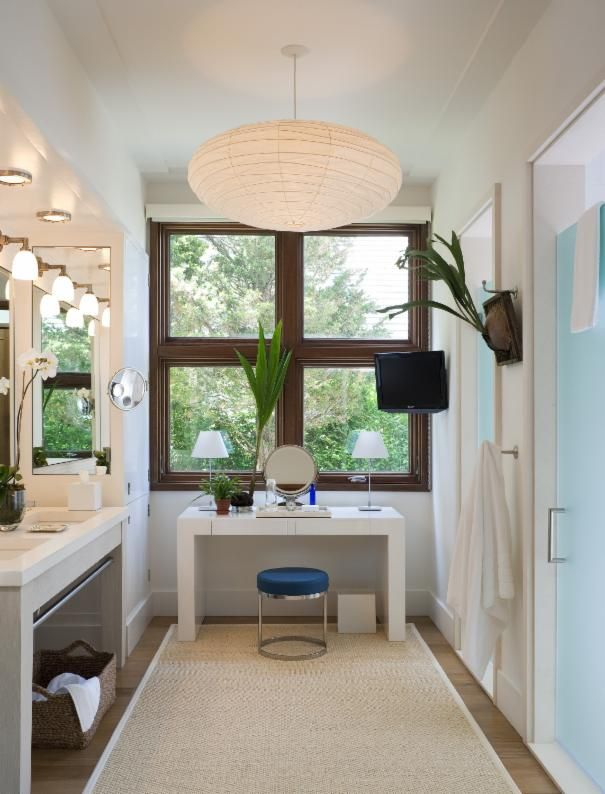 Photo of White Glam Bathroom project in Sag Harbor, NY by Foley & Cox Interiors