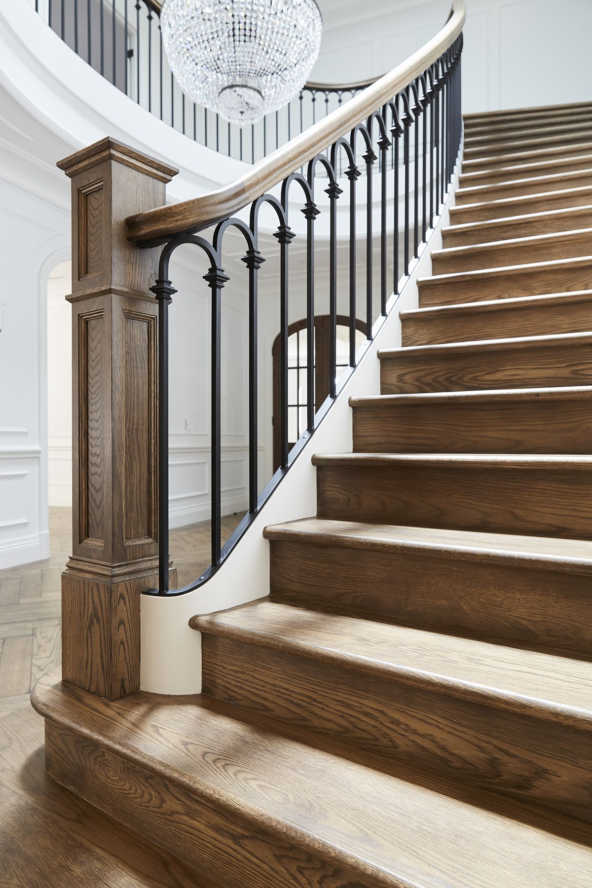 Staircase American Oak Continuous Rail Curved Stair | Rot Iron Stair Railing