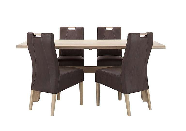 Habufa Winsgate Dining Table And 4 Chairs Seats Six In Comfort Sleek Design  Crafted From Solid Part 91