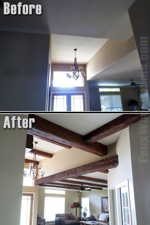 Faux Wood Beams Add Warmth To New Home Construction Before And After Timber Are Installed