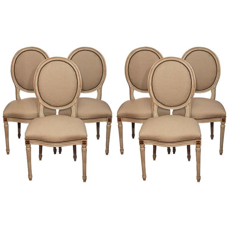 View this item and discover similar dining room chairs for sale at   Set of  6 dining room chairs Louis XVI style  Brand new upholstery with brass  nailheads Set of 6 Louis XVI style dining room chairs   Louis XVI Chairs  . Louis Xvi Style Furniture For Sale. Home Design Ideas