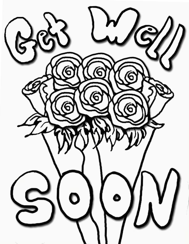 get well soon with roses coloring pages - Enjoy Coloring Get Well
