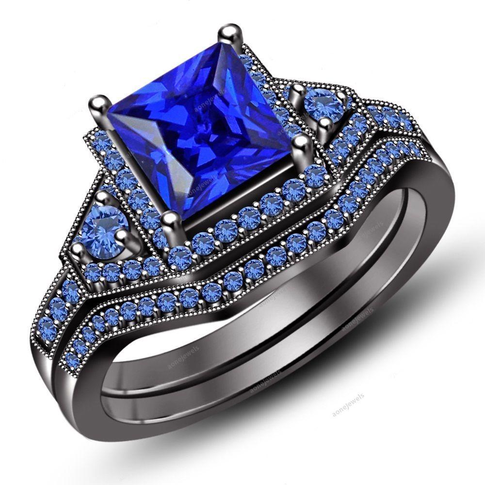1.50CT Princess & Rd Blue Sapphire 925 Silver Bridal