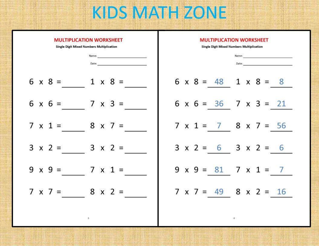 Multiplication Worksheets Printable Worksheets Etsy Kids Math Worksheets Teaching Multiplication Multiplication Practice