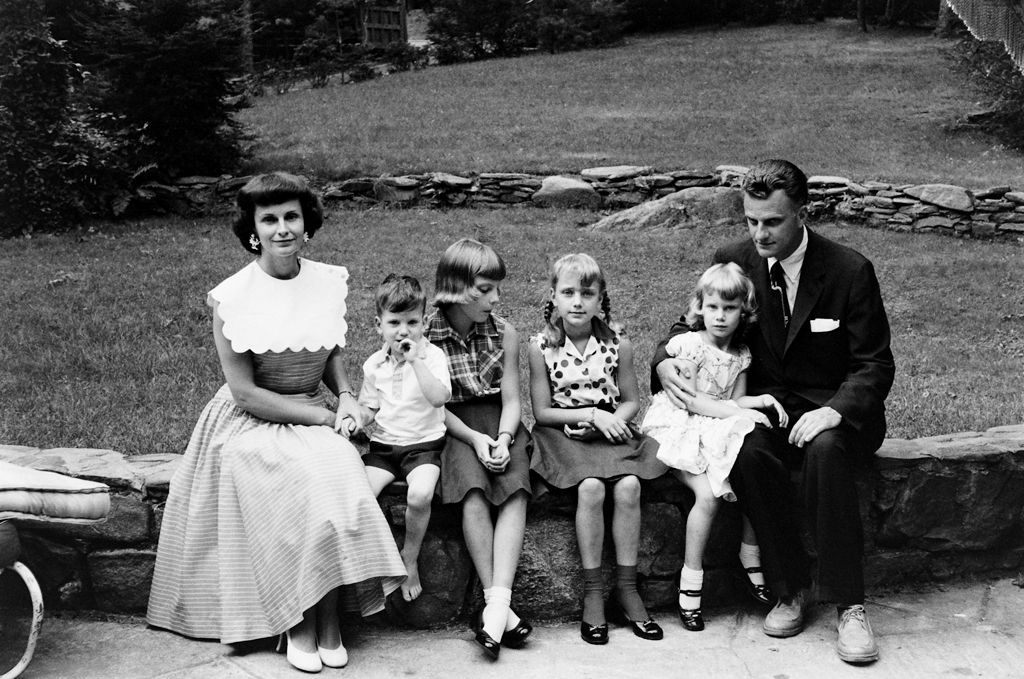 Billy and Ruth Graham and their four children in North