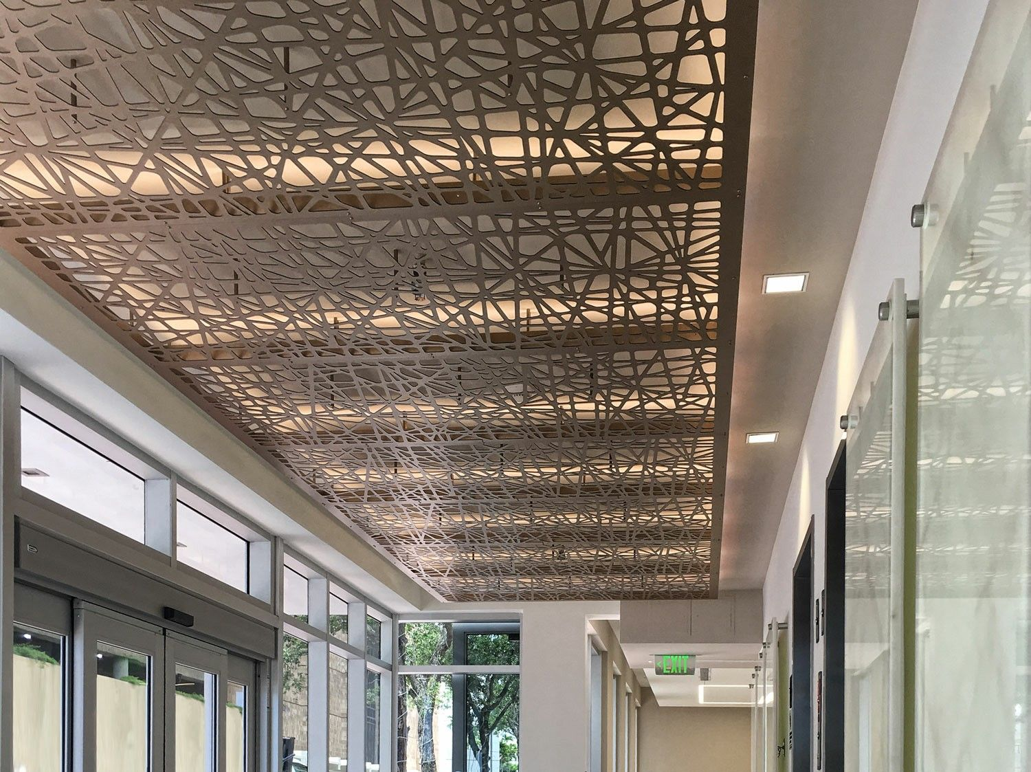Decorative Cnc Screen Ceiling Panels With Led Lights Elevator