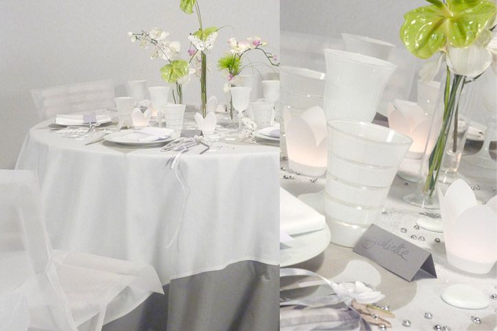 D corations d 39 ambiance table mariage gris et blanc e - Decoration blanc et gris ...