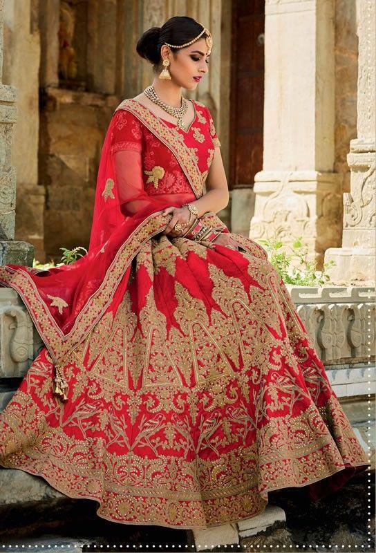 buy saree online Designer Red Colour Mastani Silk Embroidery Work Wedding Wear Lehenga Choli Buy Saree online UK  - Buy Sarees online