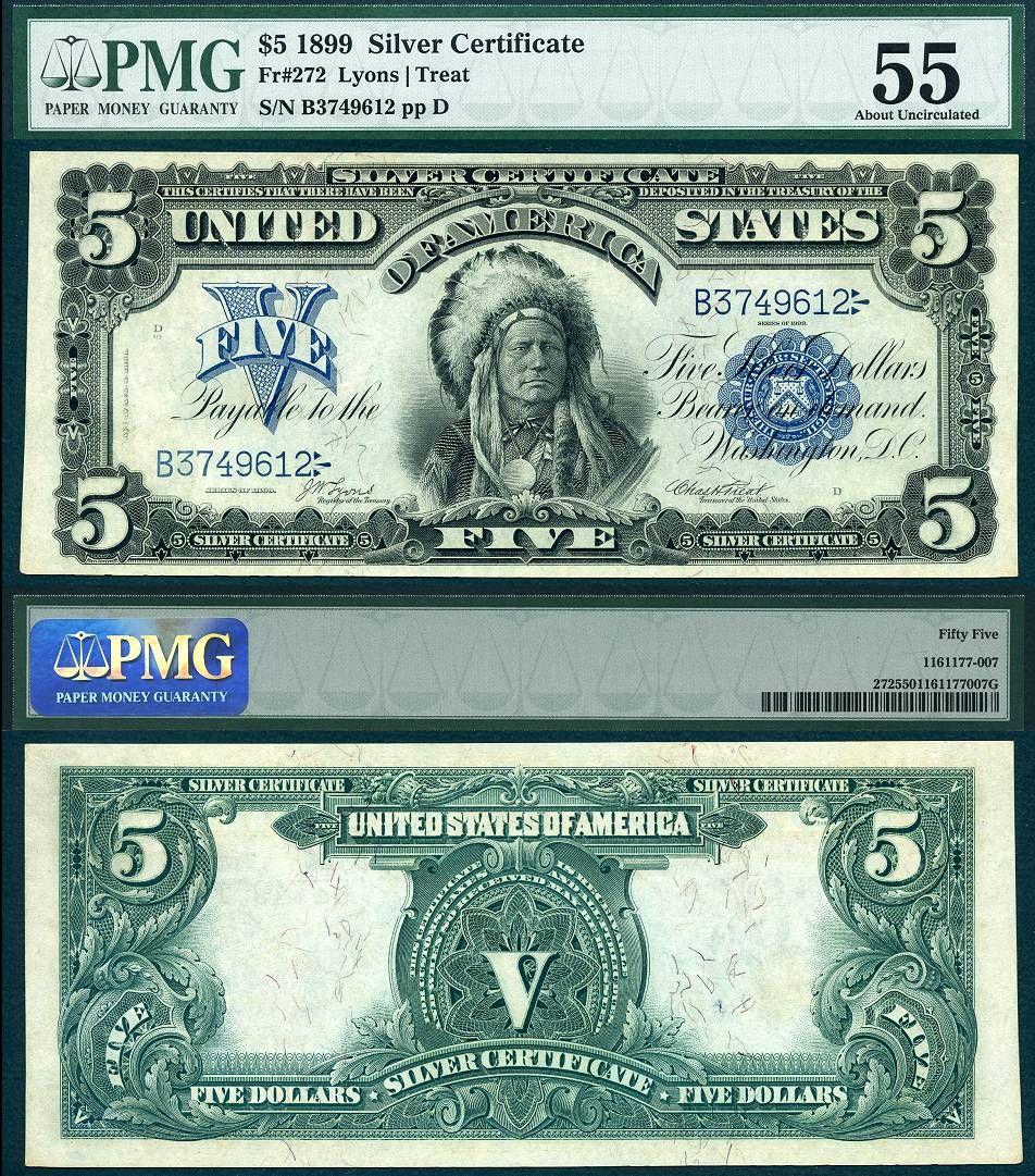 1899 five dollar 5 bill indian chief note silver certificate blue 1899 five dollar 5 bill indian chief note silver certificate blue seal f 280 certificate note and coins xflitez Choice Image