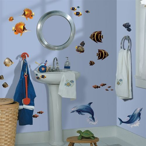 Dolphin Decorations For Ur Bathroom | Bathroom Wall Decor Stickers Design  Bathroom Wall Decor Stickers