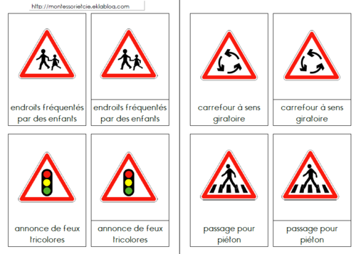 Célèbre Jeu des 5 familles de panneaux de signalisation routière : famille  GO08