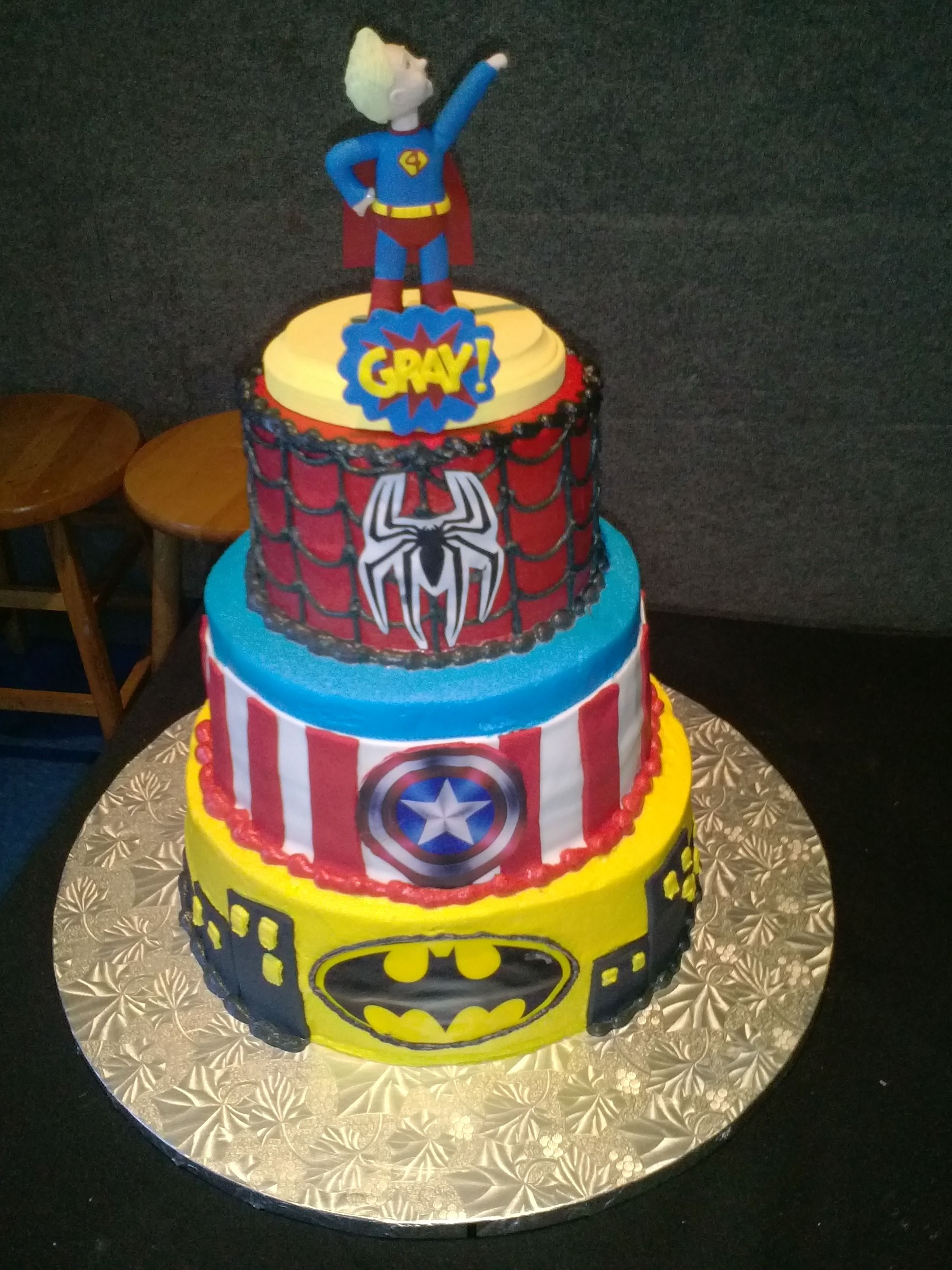 Grays 4th birthday cake superhero birthday cake 4th