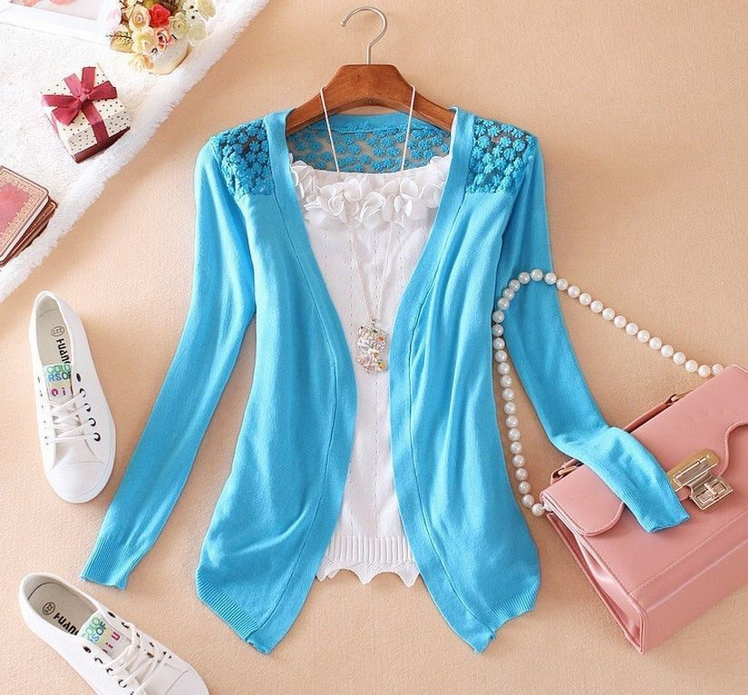 21Color Spring New Style 2016 Summer Autumn Fashion Jacket Girl Women's Lace Sweet Crochet Knit Blouse Cardigan Outerwear Coat