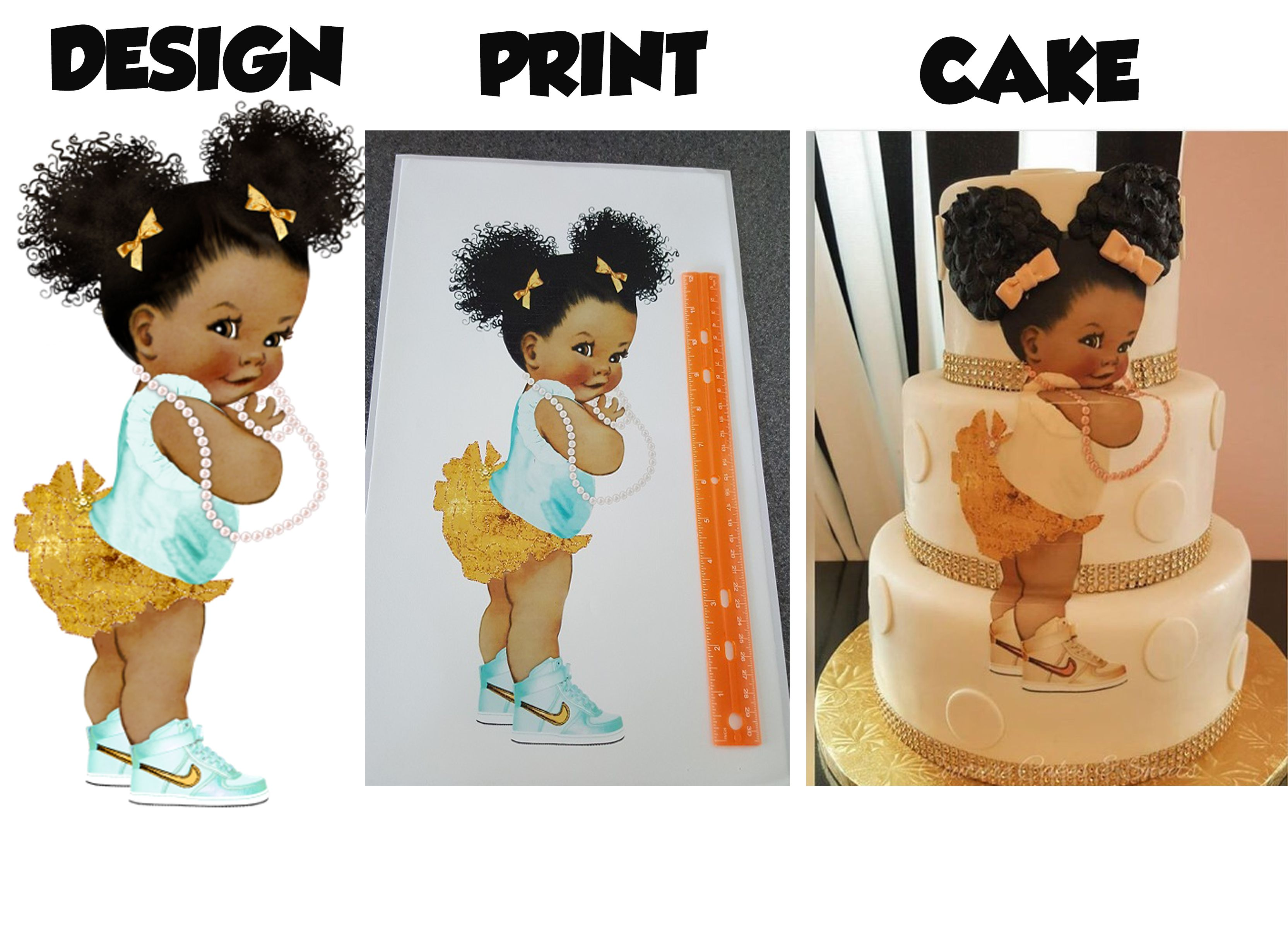 African American baby shower princess edible print for ...