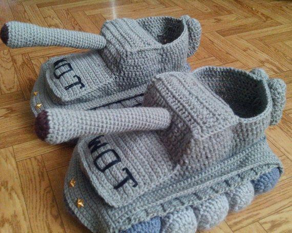 Crochet Tank Slippers Panzer Tank Shoes By Babyscrochetloves