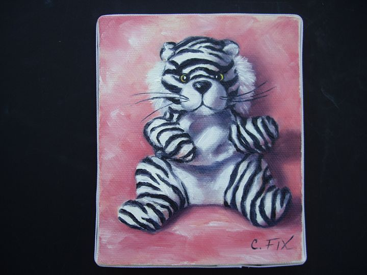 White tiger on pink background - claire fix fine art - Paintings & Prints… | ArtPal thumbnail