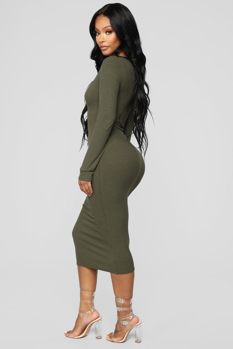 2bf2a1ac2246 The Simplest Things Midi Dress - Olive Long Sleeve Midi Dress