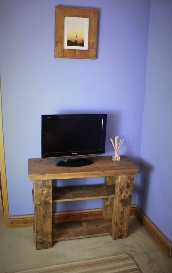 sideboard  TV stand natural wood 2 shelves chunky legs and thick dark wood table top cus Best Picture For warm home decor diy For Your Taste You are looking for something...