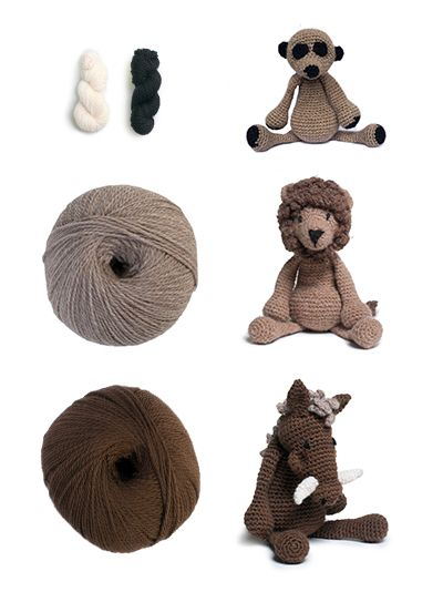 TOFT Crochet African Animals Kit Lion Meerkat Warthog | Lecture