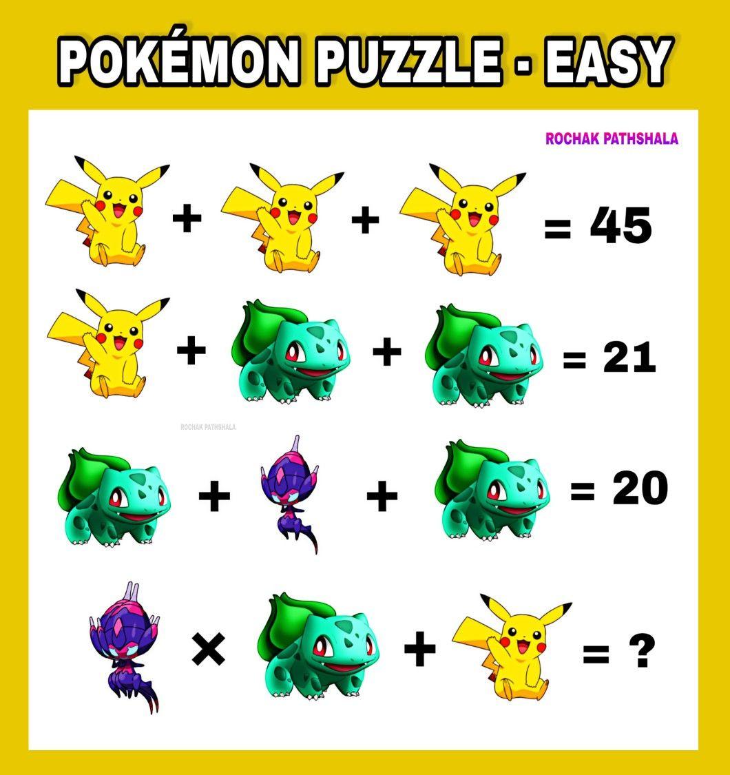 Pokemon Puzzle In 2021 Pokemon Maths Puzzles Funny Puzzles [ 1125 x 1060 Pixel ]