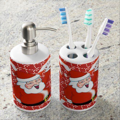 Santa Toothbrush Holder and Soap Dispenser Set Toothbrush
