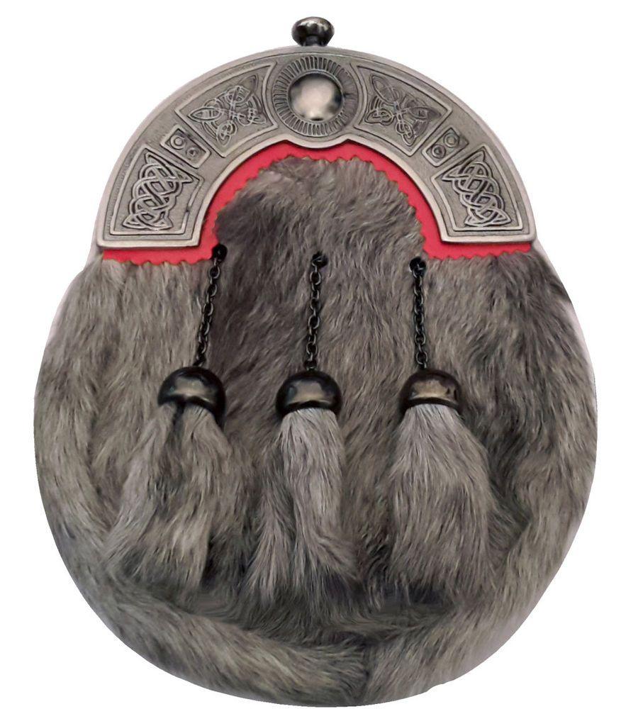 Men/'s Scottish Full Dress Kilt Sporran Seal Skin Celtic Cantle Antique Thistle