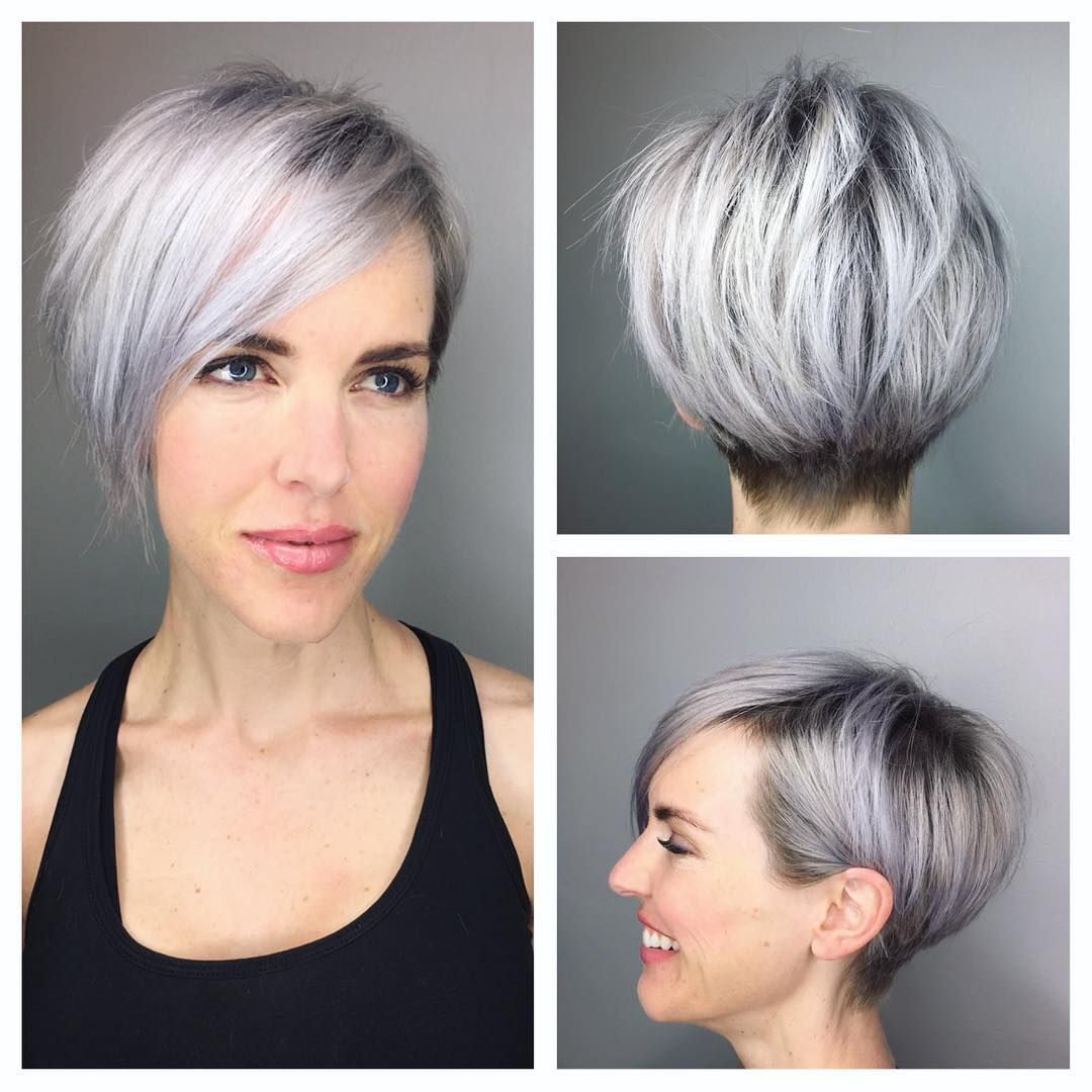 This Graduated Silver Textured Pixie with Side Swept Bangs ...