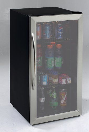 Avanti 3.1 Cubic Foot Beverage Cooler / Sylish Black Cabinet With Stainess Steel Framed Double-Pane Tempered Glass Door by Avanti, http://www.amazon.com/dp/B005M2F07E/ref=cm_sw_r_pi_dp_hNgQqb0V9ZAZW
