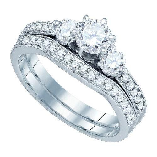 14K White-gold 1.0CTW DIAMOND 0.50CTW CRD BRIDAL SET