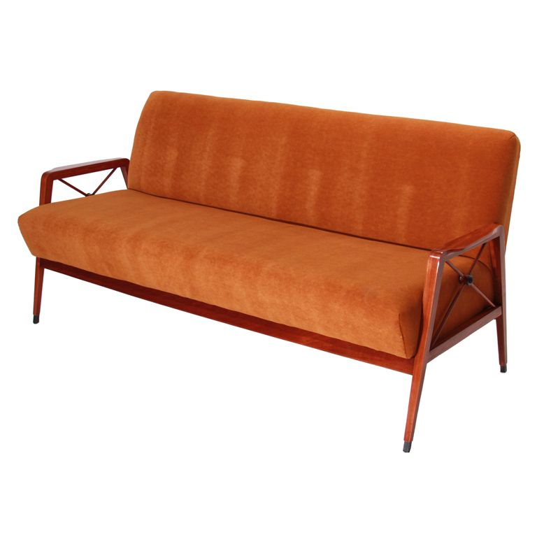 Tangerine Mohair And Exotic Wood Sofa Arms By Cavallaro