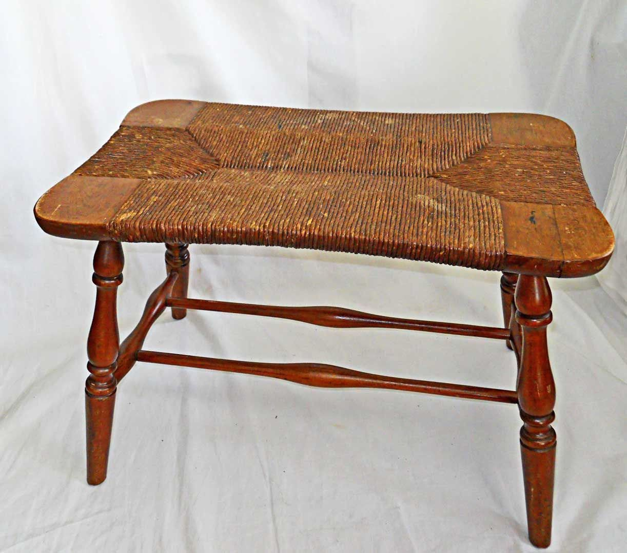 Antique Vintage Stool Rush Seat Bench Side Table Farmhouse