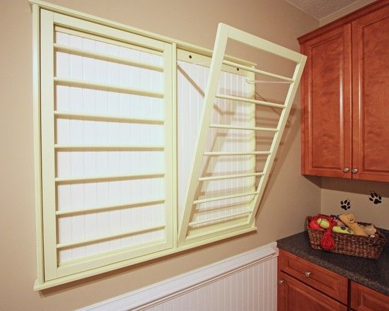 Fold Down Drying Rack Traditional Laundry Room Design Pictures