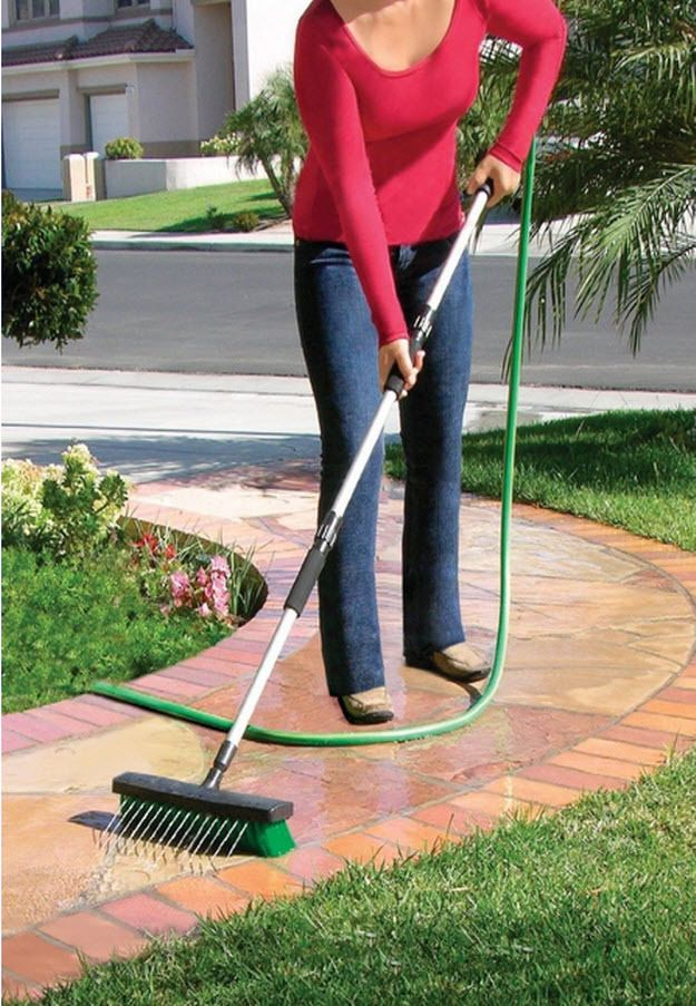 High Pressure Broom : High pressure water broom sweeper sidewalk driveway power