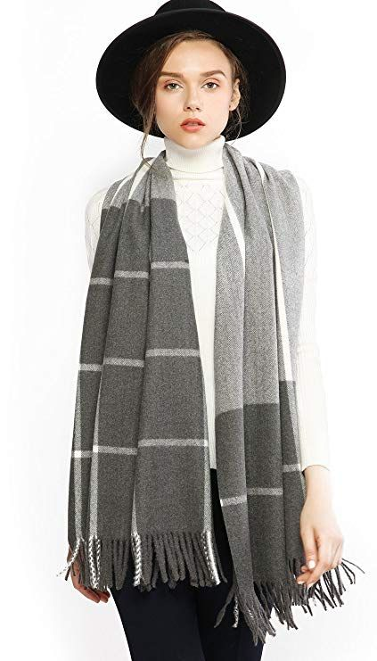 36d0b5386f2e5 Women Cashmere Wool Scarf Pashmina Shawl Wrap Stole Winter Warm Thick Plaid  Striped Blanket Oversized Scarves with Tassel Gray
